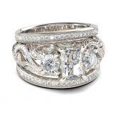Three Stone Scrollwork Radiant Cut Sterling Silver Ring Set