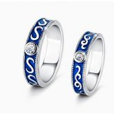 Vintage Dark Blue Design Round Cut Sterling Silver Couple Rings