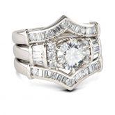Jeulia  3PC Art Deco Round Cut Sterling Silver Ring Set