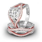 Two Tone Interwoven Round Cut Sterling Silver Ring Set