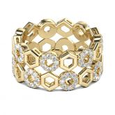 Yellow Gold Tone Honeycomb Sterling Silver Women's Band