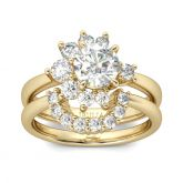 Jeulia Sun And Moon Design Round Cut  Ring Set
