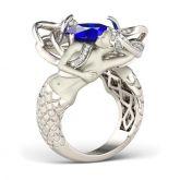 Dark Blue Cushion Cut Sterling Silver Mermaid Ring