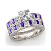 Jeulia Romantic Heart Cut Sterling Silver Ring Set
