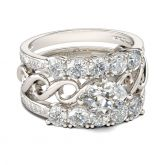 Intertwined Oval Cut Sterling Silver Ring Set