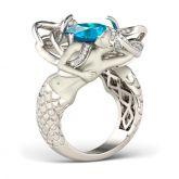 Blue Cushion Cut Sterling Silver Mermaid Ring