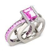 Jeulia Interchangeable Baguette Cut Sterling Silver Ring Set