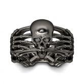 Black Skeleton Sterling Silver Skull Ring