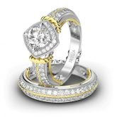 Jeulia  Two Tone Rope Design Halo Round Cut Sterling Silver Ring Set