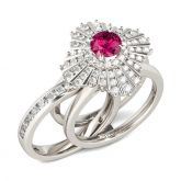 Floral Round Cut Interchangeable Sterling Silver Ring Set