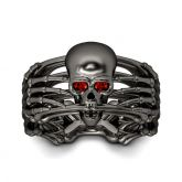 Skeleton Black Sterling Silver Skull Ring