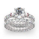 Eternity Round Cut Sterling Silver Skull Ring Set