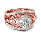 3PC Rose Gold Tone Round Cut Sterling Silver Ring Set