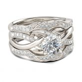 Knot Round Cut Sterling Silver 3PC Ring Set