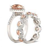 Halo Pear Cut Sterling Silver Bridal Set