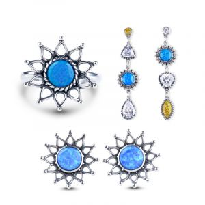 Jeulia Sunflower Opal Sterling Silver Jewelry Set