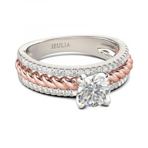 Jeulia  Two Tone Cable Round Cut Sterling Silver Ring