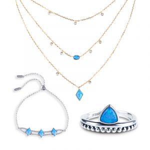 Jeulia Geometry Opal Sterling Silver Jewelry Set