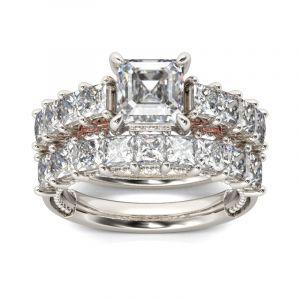 Jeulia Classic Princess Cut Sterling Silver Ring Set