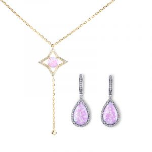Jeulia Purple Opal Sterling Silver Jewelry Set