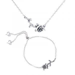 Jeulia Rose Branch Sterling Silver Jewelry Set
