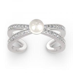 Jeulia Split Shank Cultured Pearl Sterling Silver Ring