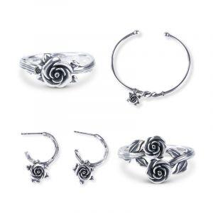 Jeulia Romantic Rose Sterling Silver jewelry Set