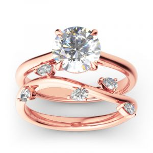 Jeulia Round Cut Sterling Silver Ring Set