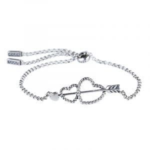 Jeulia Arrow and Heart Bolo Bracelet