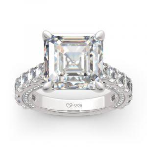 Jeulia Classic Asscher Cut Sterling Silver Ring