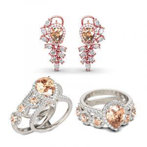 Jeulia Halo Pear Cut Champagne Sterling Silver Jewelry Set