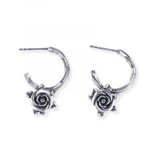 Jeulia Heart Leaves Rose Branch Earrings