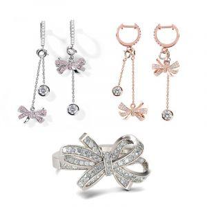 Jeulia Bowknot Sterling Silver Jewelry Set