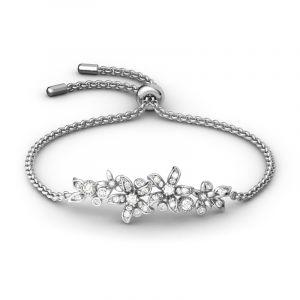 Jeulia Cluster Flowers Sterling Silver Bolo Bracelet