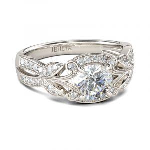 Jeulia  Vintage Leaf Design Round Cut Sterling Silver Ring