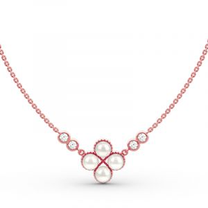 Jeulia Clover Cultured Pearl Sterling Silver Necklace