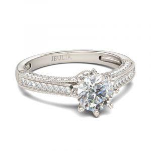 Jeulia  Classic Milgrain Round Cut Sterling Silver Ring