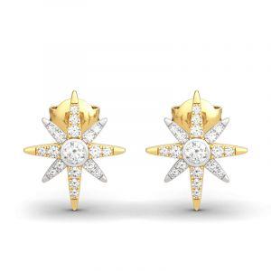 Jeulia Two Tone Star Sterling Silver Earrings