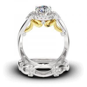 Jeulia Cross Design Round Cut Sterling Silver Ring Set