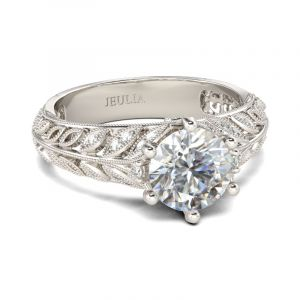 Jeulia  Milgrain Leaf Round Cut Sterling Silver Ring
