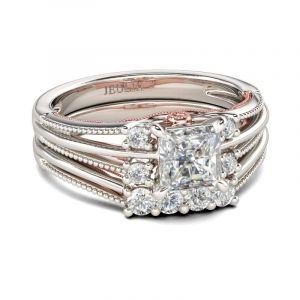 Jeulia  Two Tone Split Shank Princess Cut Sterling Silver Ring Set