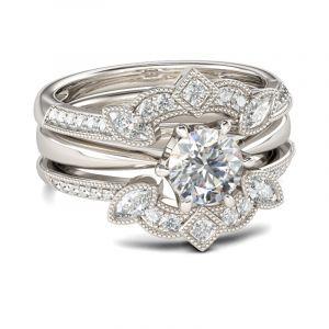 Jeulia Vintage Sterling Silver Enhancer Ring Set
