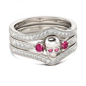 Jeulia  Fancy Round Cut Sterling Silver 3PC Skull Ring