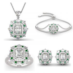 Jeulia Double Halo Radiant Cut Sterling Silver Jewelry Set