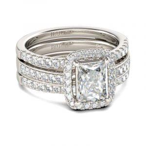 Jeulia  Halo Radiant Cut Sterling Silver Enhancer Ring Set