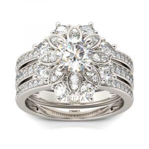 Jeulia  Flower Design Round Cut Sterling Silver 3PC Ring Set
