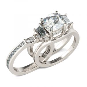 Jeulia  Three Stone Cushion Cut Sterling Silver Ring Set