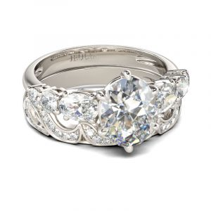 Jeulia  Swirl Oval Cut Sterling Silver Ring Set