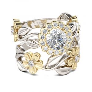Jeulia  Flower Halo Round Cut Sterling Silver Ring Set