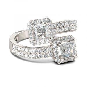 Jeulia  Two Stone Princess Cut Sterling Silver Ring